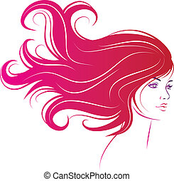 cabelo, mulher, pretas, cara longa