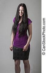 cabelo, mulher, pretas, longo