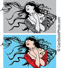 cabelo, mulher, pretas