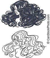 cabelo, mulher, silueta