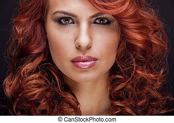 cabelo, mulher, vermelho