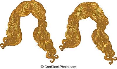 cabelo ondulado, de, amarela, cor