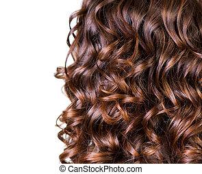 cabelo ondulado, isolado, branco