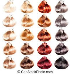 cabelo, paleta, amostras