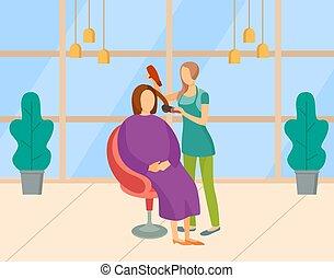 cabelo, perito, salão, penteado, cliente, mulher
