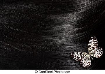 cabelo preto, com, borboleta