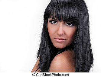 cabelo preto, estilo, de, mulher jovem, retrato