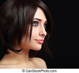 cabelo preto, mulher, com, perfeitos, luminoso, maquilagem