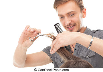 cabelo, profissional, modelo, longo, cabeleireiras