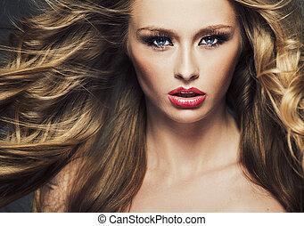 cabelo, quadro, luminoso, cutie, longo