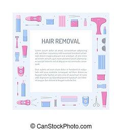 cabelo, quadro, quadrado, remoção