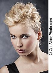 cabelo, retrato, estilo