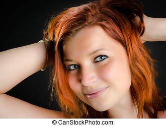 cabelo, Retrato, menina, vermelho, bonito