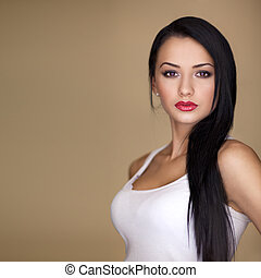 cabelo, retrato, mulher, longo, excitado