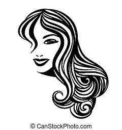 cabelo, retrato, senhora, longo