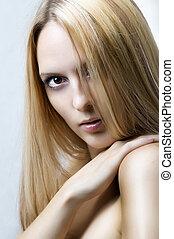 cabelo, retrato, woman., moda, saúde