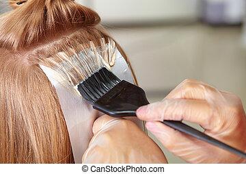 cabelo, salon., coloring.