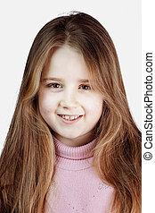 cabelo, schoolgirl, loura, longo, retrato
