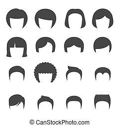 cabelo, set., mulher, vetorial, homem