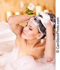 cabelo, shampoo, mulher, lavando