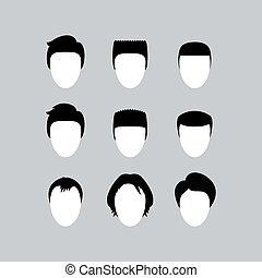 cabelo, silhuetas