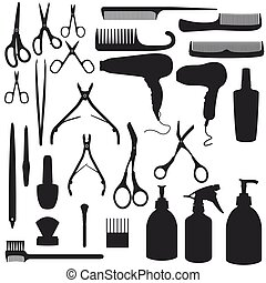 cabelo, silueta, acessórios