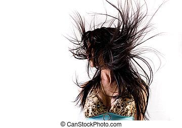 cabelo, sopro