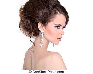 cabelo, style., bonito, morena, menina, com, penteado, e,...