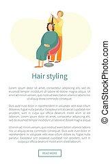 cabelo, teia, mulher, sentar, cartaz, penteado, cabeleireiras