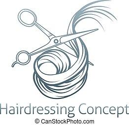 cabelo, tesouras, cabeleireiros, corte