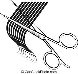 cabelo, tesouras, cacho, corte