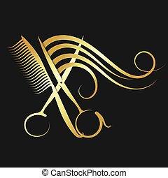 cabelo, tesouras, pente, hairdressing