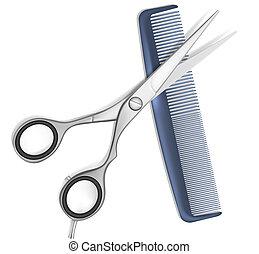cabelo, tesouras, pente
