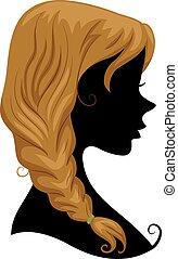 cabelo, trança, silueta