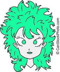 cabelo, verde, mulher, arte, rosto