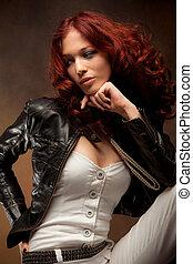 cabelo, vermelho, beleza