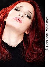 cabelo vermelho, mulher