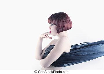 cabelo vermelho, retrato mulher, vista lateral
