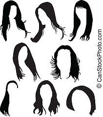 cabelo, vetorial, silueta, mulheres