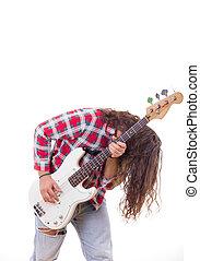 cabelo, violão elétrico, baixo, tousled, homem, tocando, camisa