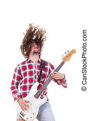 cabelo, violão elétrico, baixo, tousled, homem, tocando, camisa vermelha