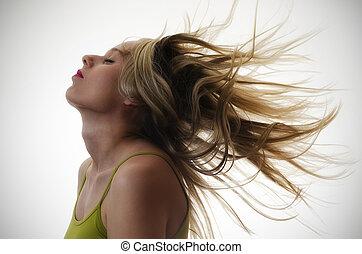 cabelo voando, mulher, ar