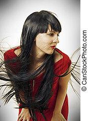 cabelo voando, mulher, brunet, longo