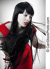 cabelo voando, mulher, moda, retrato