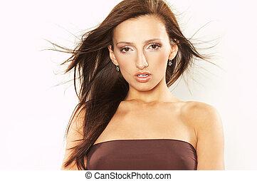 cabelo windswept, mulher, jovem