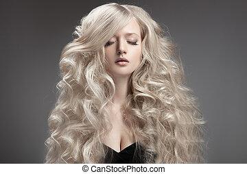 cabelo, woman., cacheados, loura, longo, bonito