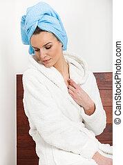 cabelos, mulher, toalha, bathrobe
