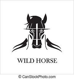 cabeludo, cavalo selvagem, pretas