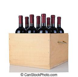 cabernet, botellas de vino, en, madera, cajón