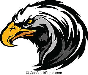 cabeza, águila, mascota, gráfico